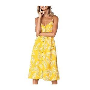 Yellow-A Spaghetti Strap Button Down Pocket Dress